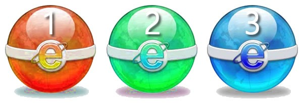 "A red, green and blue ""Pokeball"", each with the IE logo on it"