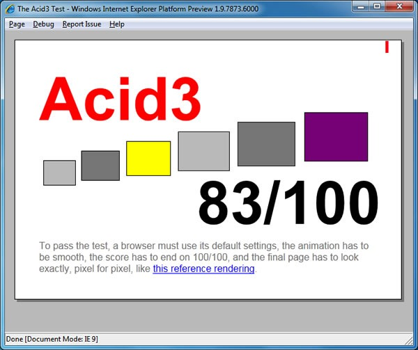 Acid3 test result screen for IE9 Platform Preview 3: 83/100