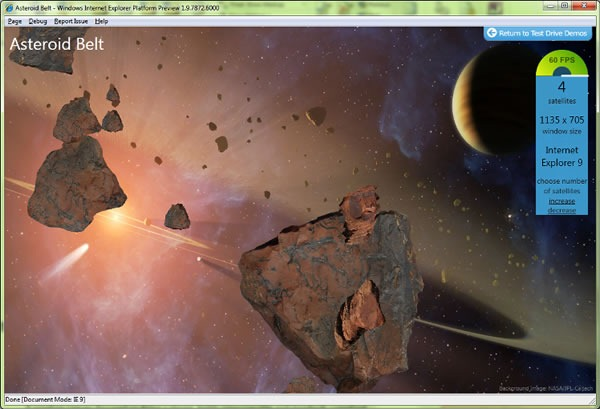 "Screenshot of the IE9 ""Asteroid Belt"" demo"