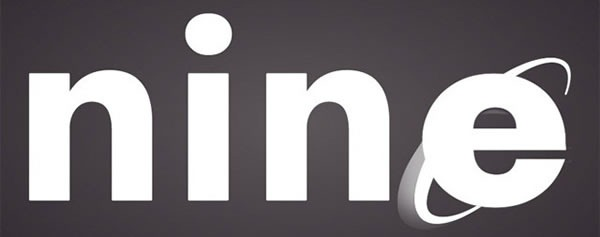"""nine"" spelled using the IE logo for the ""e"""