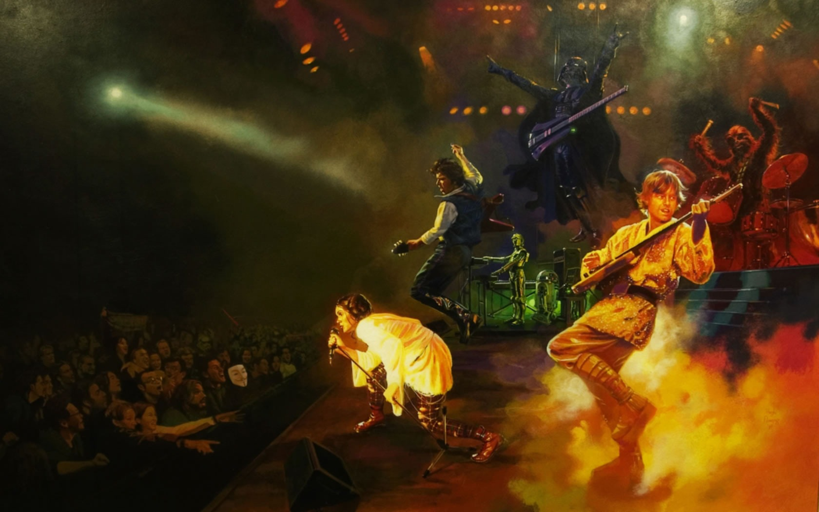 "Painting of a rock concert with a ""Star Wars"" twist: It's Princess Leia on lead vocals, Darth Vader on bass, Luke Skywalker and Han Solo on guitars, Chewbacca on drums, and C-3P0 and R2-D2 on keyboards."