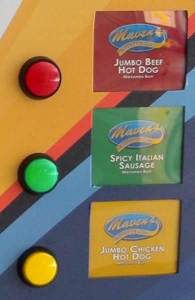 "3 buttons: ""Jumbo beef hot dog"", ""Spicy Italian sausage"" and ""Jumbo chicken hot dog"""