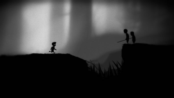 Limbo screenshot: the boy encounters a pit filled with spikes and two children bearing spears