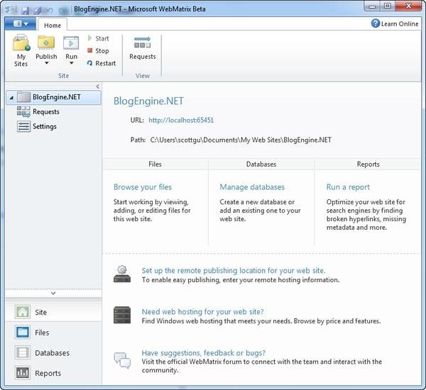 BlogEngine.NET management page in WebMatrix