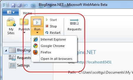 "The ""Run"" button in WebMatrix, showing the different browsers you can use to preview your site"