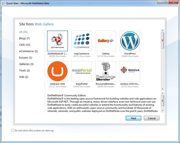 WebMatrix App Gallery page, featuring apps like DotNetNuke and WordPress