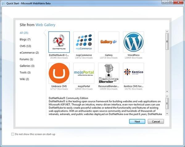 WebMatrix App Gallery page, featuring apps like DotNetNuke and WordPress