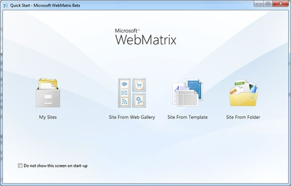 "WebMatrix ""Quick Start"" screen, with four links: My Sites, Site from Web Gallery, Site from Template, Site from Folder"