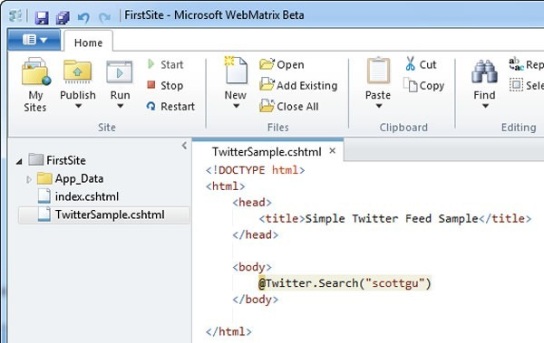"WebMatrix code editor showing a Twitter class' ""Search"" method being called"