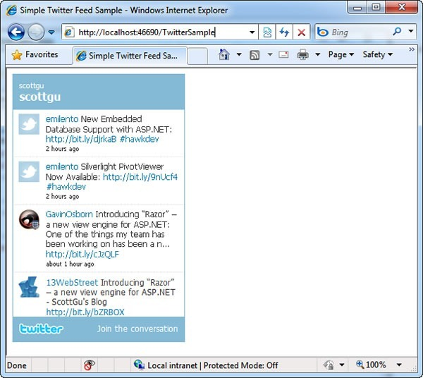 Screenshot of sample Twitter app in WebMatrix