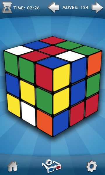 "Game screen for Magmic's ""Rubik's Cube"" game"