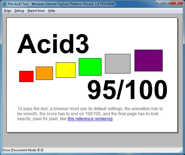 Screenshot: IE9 PP4's Acid3 test results: 95/100