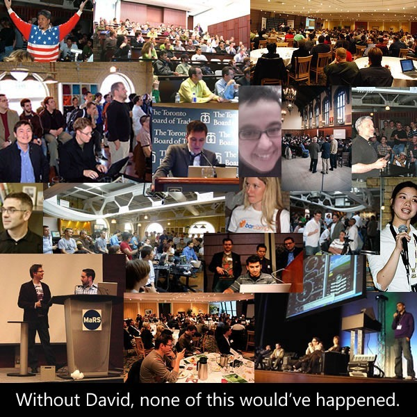 "Collage of DemoCamp photos: ""Without David, none of this would've happened."""