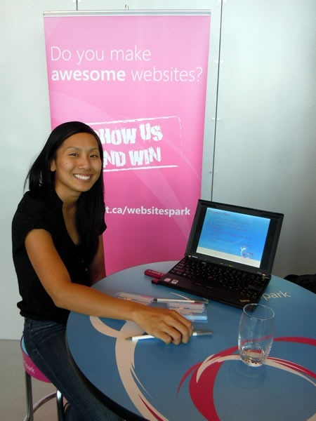Samantha Wong, minding the WebsiteSpark table
