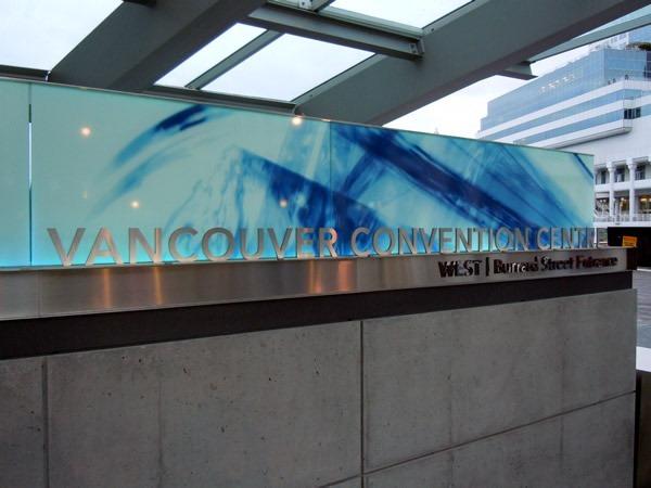 """Sign: """"Vancouver Convention Centre / West   Burrard Street Entrance"""""""