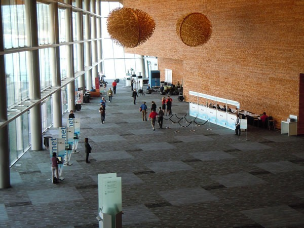 TechDays registration area -- the large hall on the west side of the building -- as seen from the staircase
