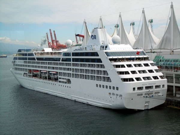 Princess Cruises liner, moored to Vancouver Convention Centre's East Building