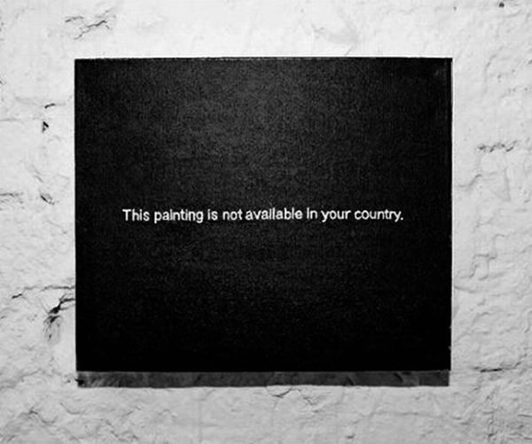 "Painting that reads ""This painting is not available in your country"""