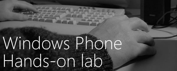 Windows Phone Hands-on lab: photo of hands on a computer keyboard