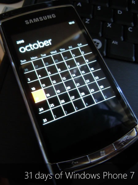 """31 Days of Windows Phone 7"": Windows Phone showing the calendar for the month of October"