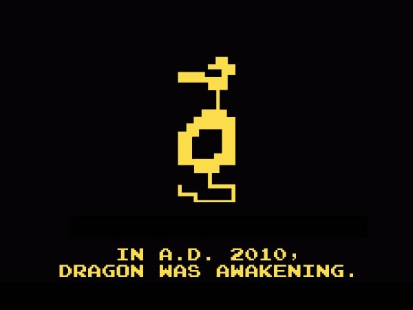 "The incredibly low-resolution dragon from the Atari 2600 game ""Adventure"": ""In A.D. 2010, dragon was awakening""."