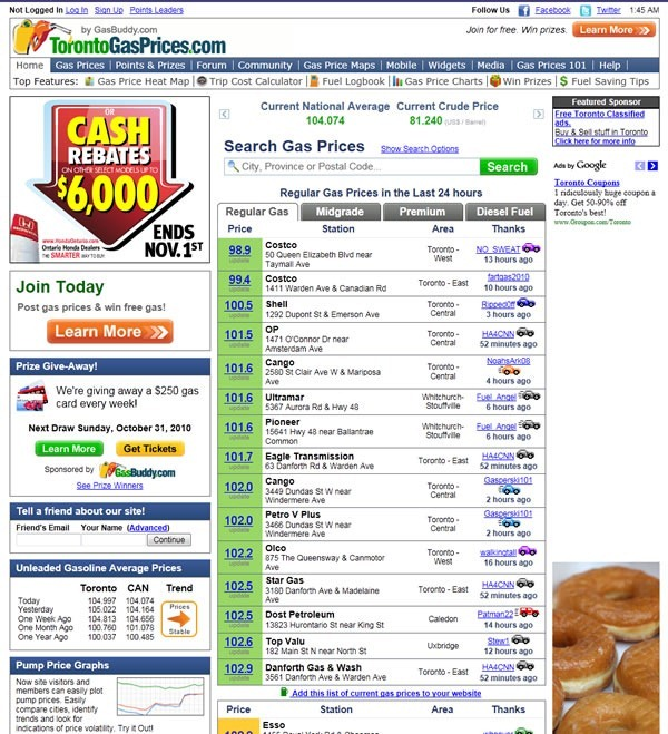 torontogasprices site