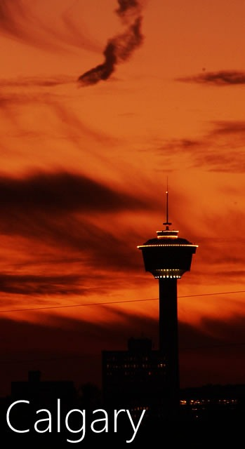Calgary Tower in the sunset