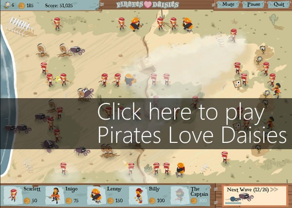 "Screen capture of the game: ""Click here to play Pirates Love Daisies"""