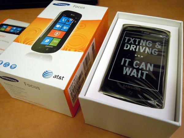 Samsung Focus box revealing phone