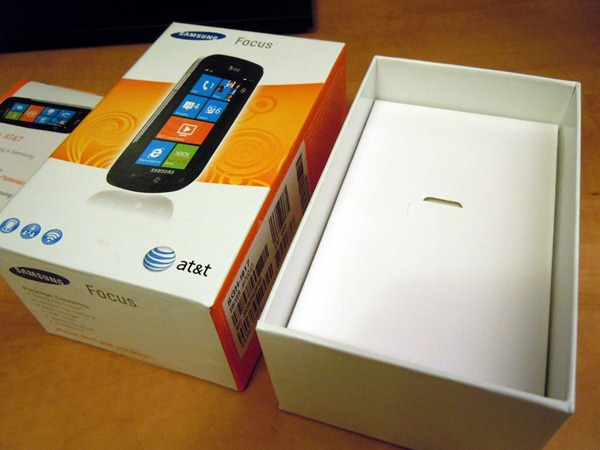 Samsung Focus box with phone removed, revealing another box