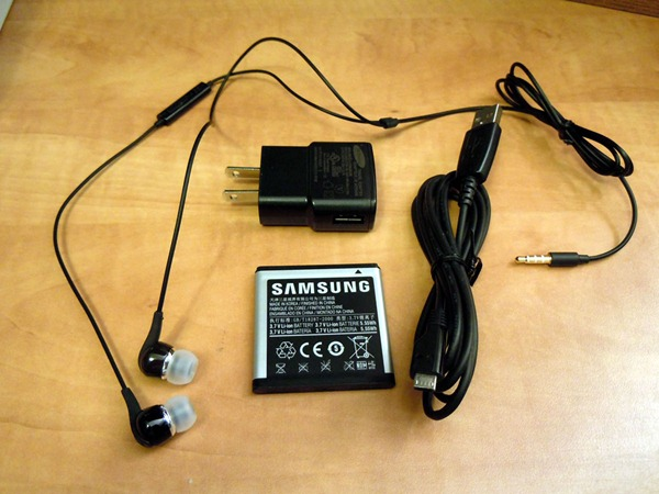 Samsung Focus headphones, AC adapter, battery and USB cable