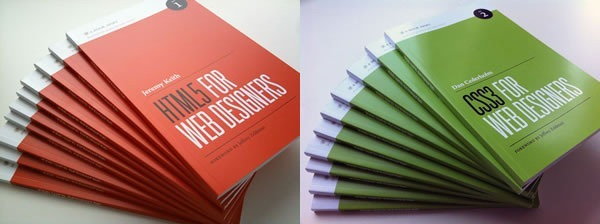"Two fanned-out stacks of books: One of ""HTML5 for Web Designers"", one of ""CSS3 for Web Designers"""