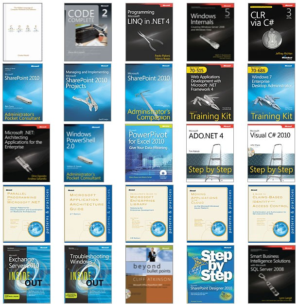 Covers of the top 25 Microsoft Press ebooks