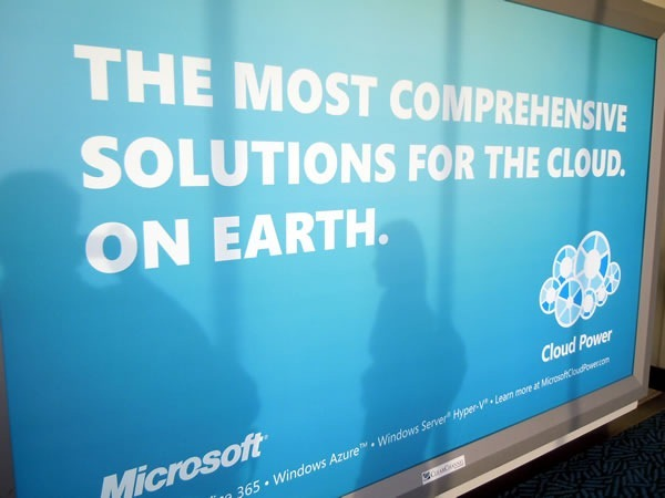 "Ad in Vancouver Airport: ""The most comprehensive solutions for cloud. On earth."""