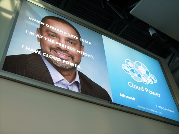 "Billboard in Vancouver Airport: ""When demand says jump, I'm at the perfect height. That's cloud power."""