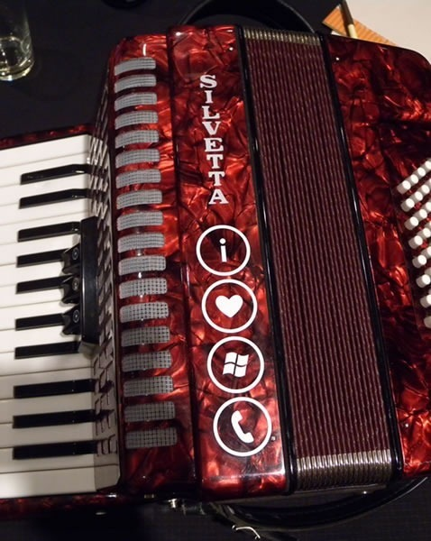 "Joey deVilla's accordion, with an ""I [heart] Windows Phone"" sticker on it."