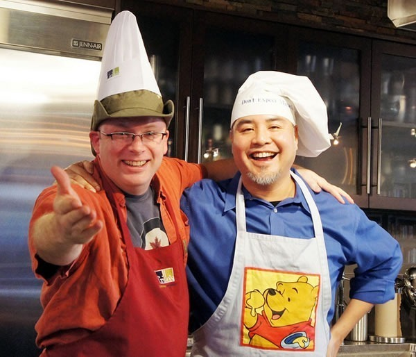 Rick Claus and Joey deVilla in chef hats