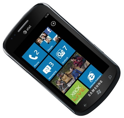 Samsung Focus WP7 phone, showing the start screen
