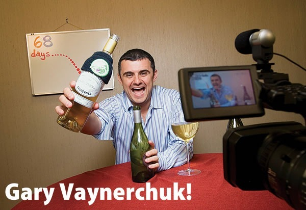 Gary Vaynerchuk!: Gary filming one of his videos, brandishing wine.