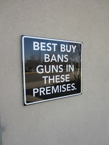 Best buy bans gun in these premises
