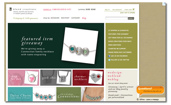 Screenshot of the Blend Creations site