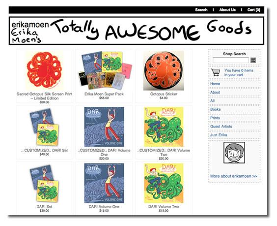 Screenshot of Erika Moen's Shopify store