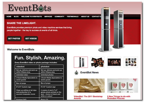 Screenshot of the Eventbots site