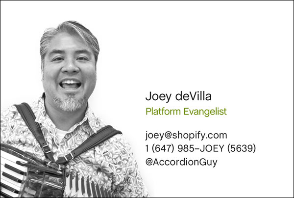 Joey devilla business card front