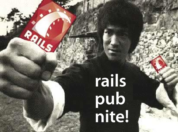 Rails Pub Nite: Bruce Lee holding Rails nunchuks