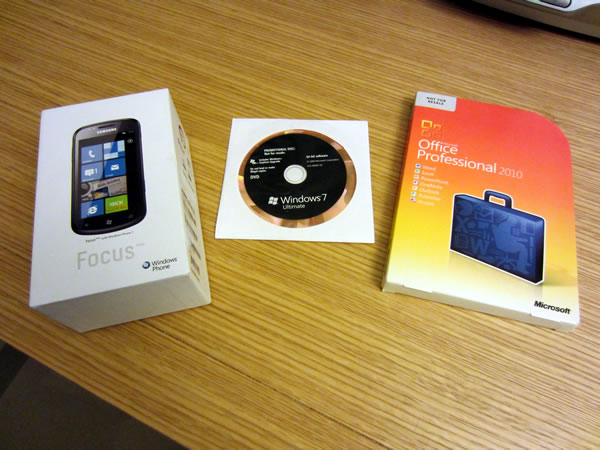 Windows Phone 7 (Samsung Focus) box, Windows 7 Ultimate DVD, Microsoft Office 2010 Professional DVD