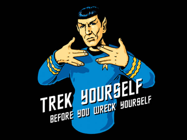 Trek Yourself Before You Wreck Yourself: Spock flashing the 'Live Long and Prosper' hand signals as if they were gang signs.