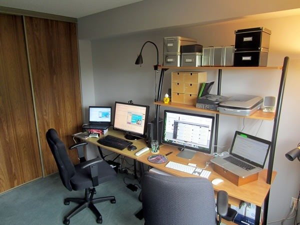 Joey's workstation, as seen from the right