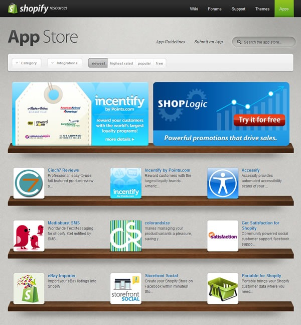 Shopify's App Store, with Incentify as a featured app