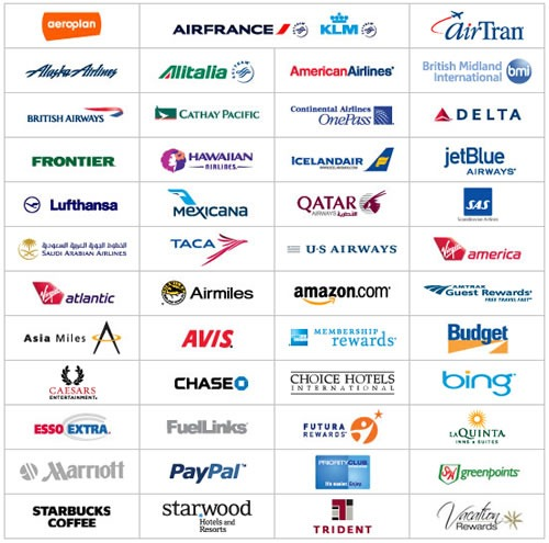 Logos of 48 of Points.com's partners